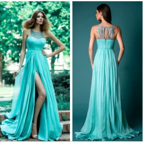 tyrkysové zelené dlouhé společenské letní šaty Triss M - Hollywood ... 1889753015e