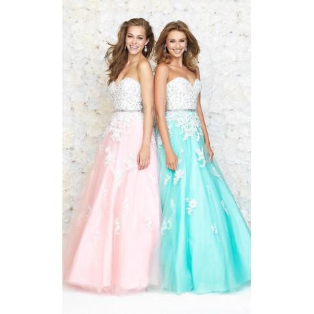 c690928cb9b luxusní modré tylové plesové společenské šaty s bílou krajkou Elize ...