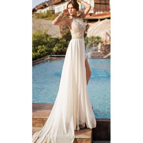 krémové plesové nebo svatební šaty s holými zády Tina XS-S