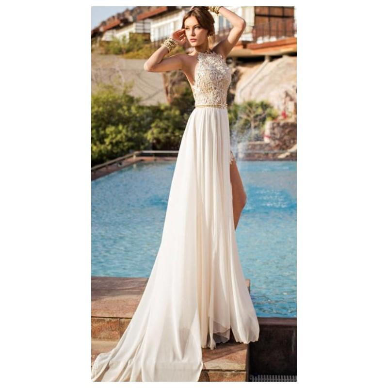 8b36a7ab23e krémové plesové nebo svatební šaty s holými zády Tina XS-S