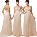 luxusní meruňkové plesové šaty kolem krku Luisa S-M