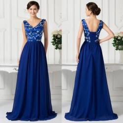 luxusní tmavě modré plesové šaty na ramínka Julianna XL-XXL