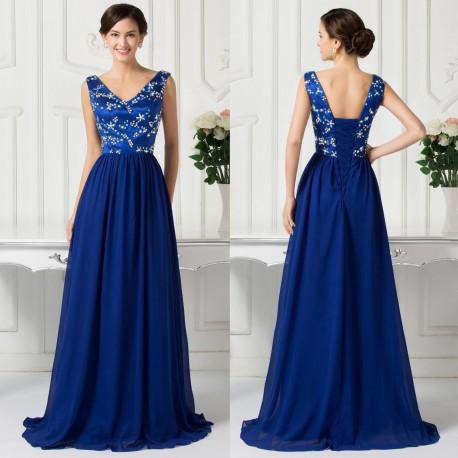 luxusní tmavě modré plesové šaty na ramínka Julianna XL-XXL ... 38c18832a6