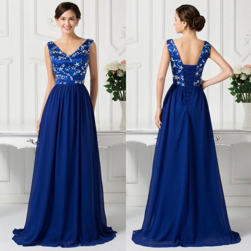 d66c96e7771 luxusní tmavě modré plesové šaty na ramínka Julianna XL-XXL ...