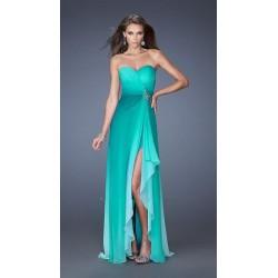 plesové tyrkysové zelené šaty s rozparkem Beata XS