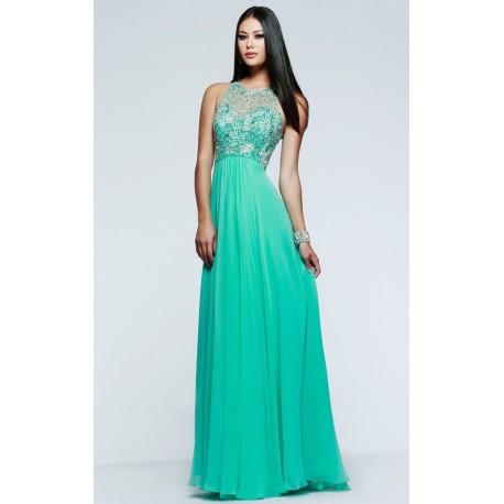 luxusní  zelené plesové šaty na maturitní ples Veronica XXS