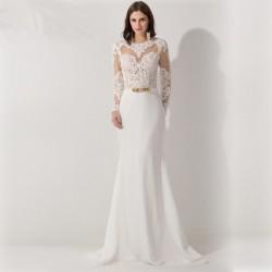 úplné sexy bílé svatební šaty s krajkou a rukávy Dionisa S