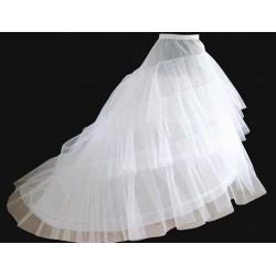 spodnice pod šaty s vlečkou - bílá s kruhy a kanýry