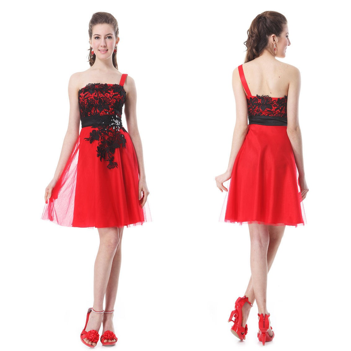d1f3ca90ee1 červené krátké společenské šaty s černou krajkou na jedno ramínko Silva XXL  - Hollywood Style E-Shop - plesové a svatební šaty