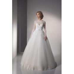 luxusní svatební šaty s rukávky a krajkou Lerona XS