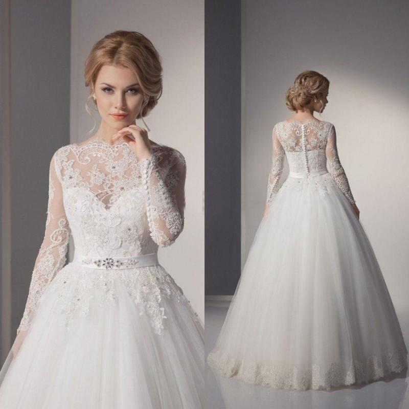 luxusní svatební šaty s rukávky a krajkou Lerona XS - Hollywood ... 8d064ab3e9