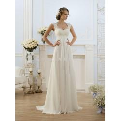antické čistě bílé svatební šaty Luisa na ramínka XS-S