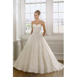 luxusní krajkované krémové svatební šaty Elza XS-S