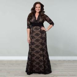 černé krajkované elastické dlouhé společenské šaty Rozeta XL