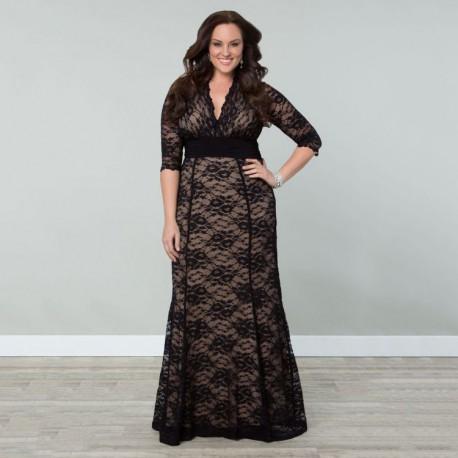 0fcd22d414a2 černé krajkované elastické dlouhé společenské šaty Rozeta XL ...