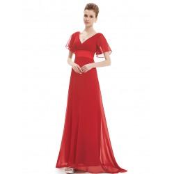 červené jednoduché společenské šaty Lena XS