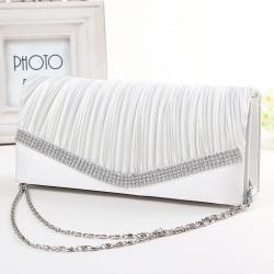 bílá společenská svatební kabelka se štrasem