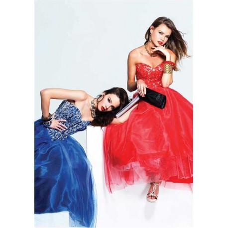 tmavě modré plesové šaty na maturitní ples Faviana - originální model 6915, velikost L