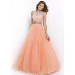 dvoudílné světle lososové plesové šaty Katharine XS
