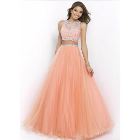 f22766334dc7 dvoudílné lososové plesové šaty Katharine XS - Hollywood Style E ...