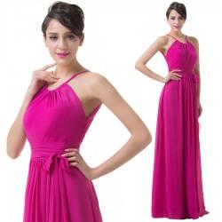 dlouhé růžové jednoduché společenské šaty Nancy XS-M