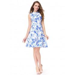 krátké společenské modro-bílé šaty květované Karen XL