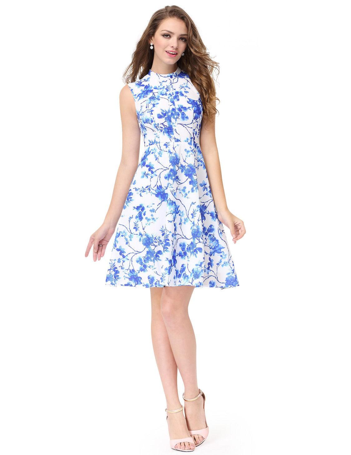 ed89bb3ce121 krátké společenské modro-bílé šaty květované Karen XL
