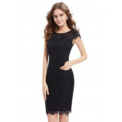 krátké černé pouzdrové společenské šaty Thea XL
