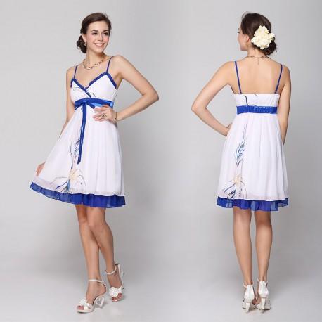 krátké bílé společenské šaty s modrým lemováním S