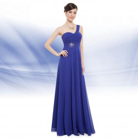 dlouhé modré společenské šaty na jedno rameno Elizé L