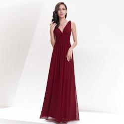 vínové dlouhé společenské šaty Lejla XXXL