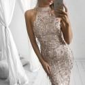 dlouhé krémové společenské šaty Nude S