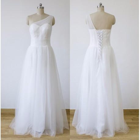 jednoduché krémové svatební šaty na jedno rameno Tulle L-XL