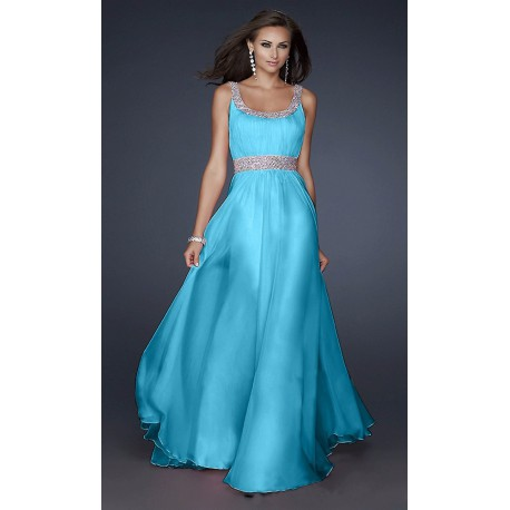 světle modré dlouhé plesové šaty na ramínka Carol M-L