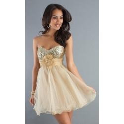 krémové champagne krátké společenské šaty na ples Luisa XS-S