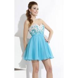 krátké modro-bílé společenské šaty Luisa XS-S
