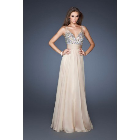 champagne dlouhé plesové šaty na ples Kathleen L-XL 888b106312