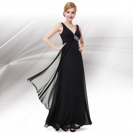 dlouhé černé společenské šaty na ramínka Stella L