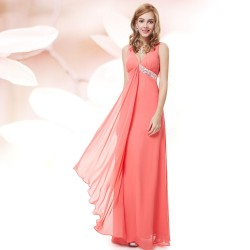 dlouhé lososové společenské šaty na ramínka Stella XL