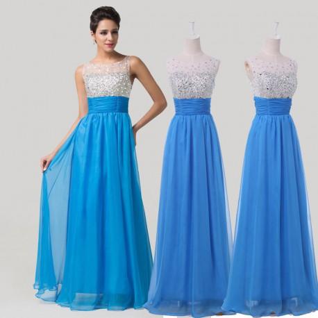 modré plesové šaty Rebecca XS