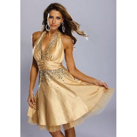 krátké zlaté společenské šaty Tina S
