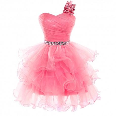 lososové krátké společenské šaty s bohatou sukní Rubby XS-M