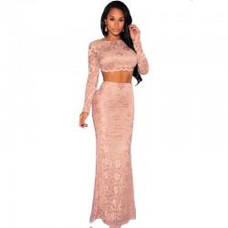 krajkované dvoudílné plesové šaty pudrové Lucia S-M