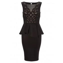 krátké černé pouzdrové společenské šaty do kanceláře M