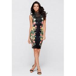 černé květované společenské šaty Julianna M