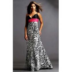 dlouhé zebrované společenské šaty s růžovou stuhou S, M