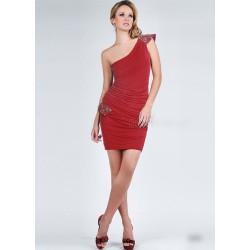 krátké červené společenské šaty na jedno rameno S-M