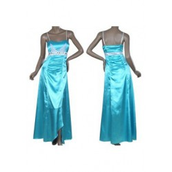 dlouhé modré společenské šaty na ramínka Luisa XXXL