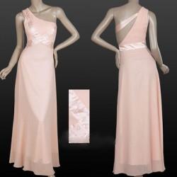 růžové dlouhé společenské šaty na jedno rameno Amanda XXL