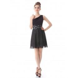 krátké černé společenské šaty na jedno rameno Zebra M
